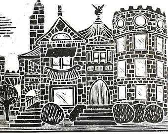 LINOCUT print - Campbell Castle - 8x10 minimal Wichita poster
