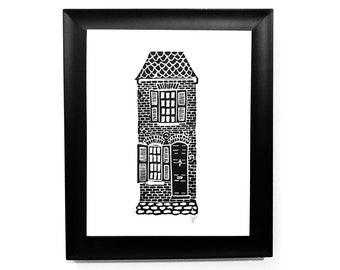 Spite House in Alexandria Virginia - 8x10 Linocut architecture print. Colonial brick house on cobblestones  - Block print architecture