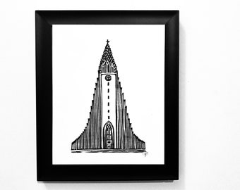 Reykjavik Tower of Hallgrimskirkja linocut - Iceland travel poster - Relief print - 8x10 Reykjavik print