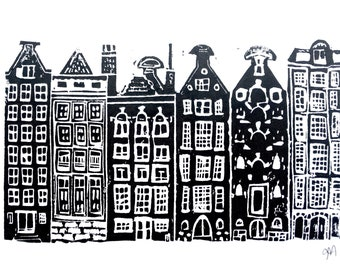 Amsterdam Canal Houses - Hand-pressed linoleum block print - Wood block linocut 8x10 in black - Netherlands poster