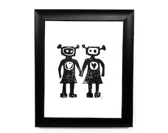 Lesbian Robots in love - Sweet minimal hand-pressed linocut print - Anniversary poster 8x10 LGBTQ art