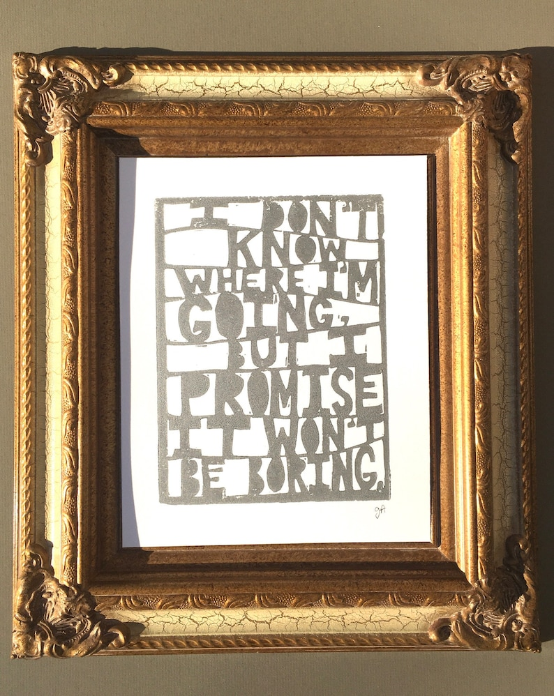 Hand-Pulled Letterpress Print with Inspirational Quote from David Bowie – Thoughtful 18th Birthday Gift for Boyfriend