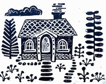 Scandinavian folk art small house print, Linocut relief print 8x10