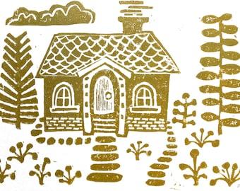 Scandinavian folk art, Sweet metallic gold block print, Swedish linocut relief print 8x10
