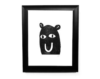 Happy little monster linocut print - 8x10 linoleum block print in black