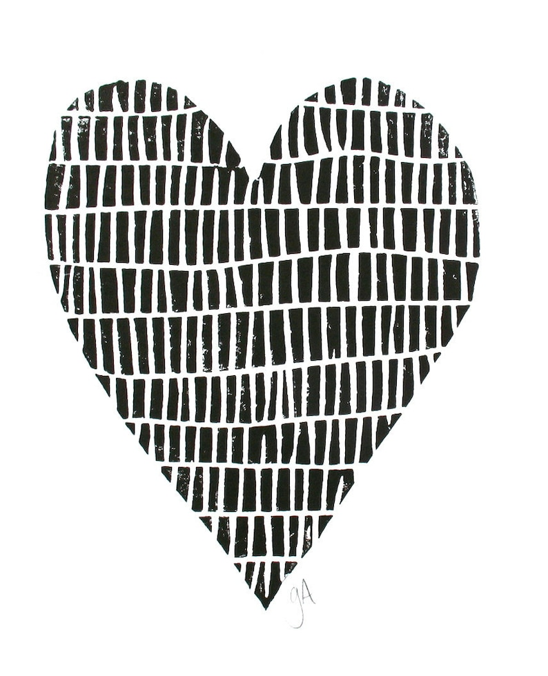 LINOCUT PRINT minimal black heart 8x10 Valentine letterpress poster