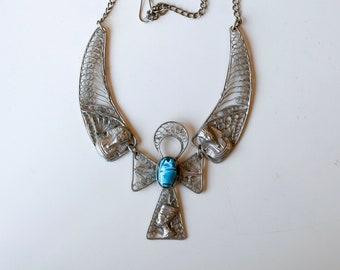 1970s Egyptian revival silver tone filigree blue scarab ankh necklace / 70s vintage King Tut Nefertiti Egypt revival statement necklace
