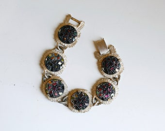 1950s Judy Lee gold-tone art glass link bracelet / 50s vintage designer purple and green glass mid century gold links / collectible jewelry