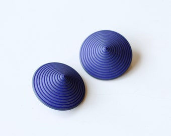 1940s cobalt blue plastic cone clip ons / 40s vintage retro large round statement clip on earrings