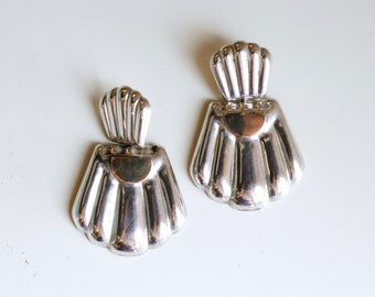 1980s silver and gold fill statement earrings / 80s vintage large scalloped sterling knocker pierced earrings / large silver dangle earrings