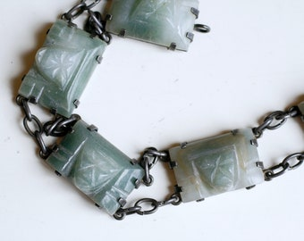 1940s sterling Mexican jade carved face link bracelet / vintage 40s Mexico silver green Aztec stone mask bracelet / ethnic silver jewelry