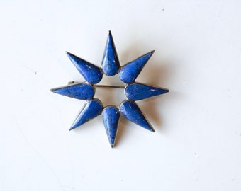 Vintage silver and lapis inlay teardrop star brooch pendant / 970 silver with inlaid cobalt blue lapis lazuli necklace or pin / high silver