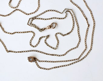 Antique Victorian gold fill watch chain with opal slide / late 1800s Victorian era gold filled seed bead opal / wear as necklace