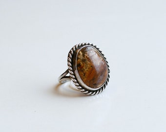 1970s brown jasper and silver ring / 70s vintage sterling and stone brown jasper silver ring size 4