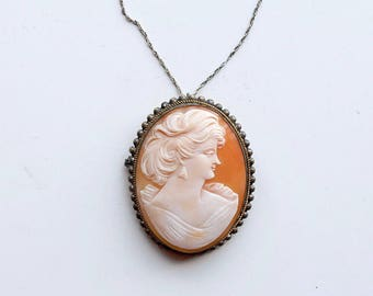 1910s silver shell cameo necklace / antique early 1900s large portrait cameo carved shell pin pendant / Edwardian silver plate necklace