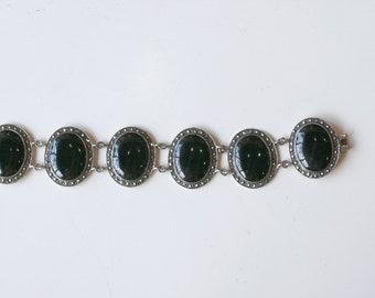 1990s sterling and onyx link bracelet / 90s vintage large silver black onyx oval stones with marcasites bracelet / art deco revival style