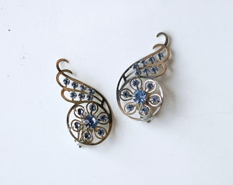 1940s blue rhinestone and silver-tone statement clip ons / 40s vintage large unusual silver clip on costume earrings / mega showgirl jewels