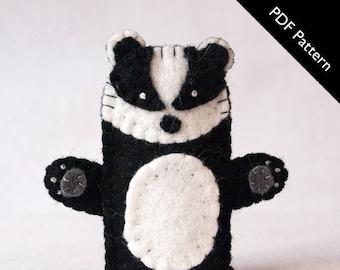 Pattern, badger finger puppet pattern, badger, badger felt finger puppet pattern, diy, felt finger puppet, badger felt finger puppet, puppet