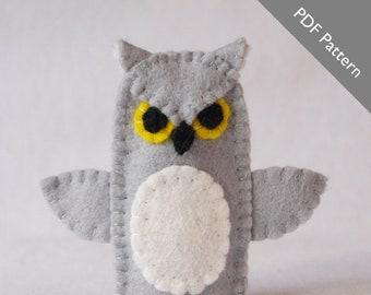Pattern, owl, owl pattern, owl sewing pattern, felt owl pattern, owl finger puppet pattern, finger puppet pattern, diy, owl diy, sewing