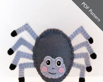 Spider puppet pattern, Itsy bitsy spider pattern, felt finger puppet pattern, spider, felt finger puppet pattern, PDF, puppet pattern