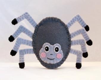 Itsy bitsy spider finger puppet, itsy bitsy spider puppet, itsy bitsy spider, spider finger puppet, spider, grey spider, felt spider puppet
