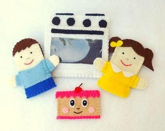 Pat-A-Cake finger puppet, pat a cake puppet, boy puppet, girl puppet, cake puppet, oven finger puppet, felt finger puppet, finger puppet