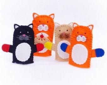 Double sided felt finger puppet, Three little kitten lost their mitten, felt finger puppet, cat, kitten, mitten, finger puppet, pie,