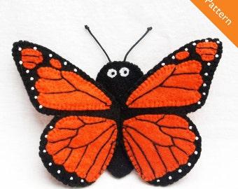 Pattern, felt finger puppet pattern, butterfly finger puppet pattern, monarch butterfly finger puppet pattern