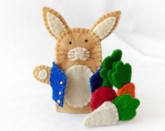 Peter Rabbit finger puppet, Peter rabbit felt finger puppet, felt finger puppet, rabbit finger puppet, brown rabbit, rabbit finger puppet