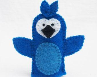 Le Geai bleu, oiseau, oiseau marionnette à doigt feutre, marionnettes animaux, marionnettes de l'heure du conte