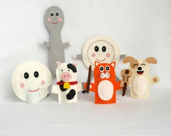 Hey Diddle Diddle felt finger puppet, nursery rhyme felt finger puppet, felt finger puppet, cat and the fiddle, cow, dog, dish and spoon