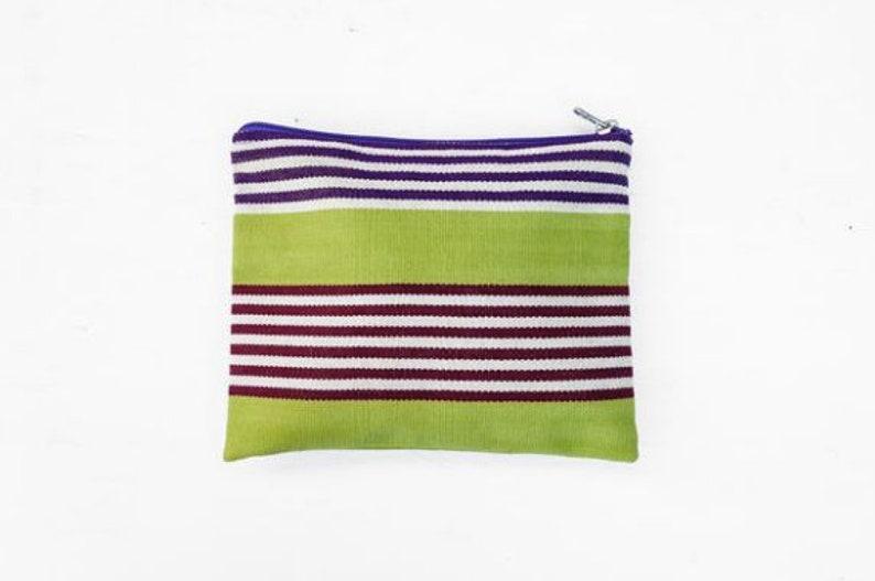 Hand-woven Striped Bag Medium Clutch: Guatemalan Textiles Zipper Pouch