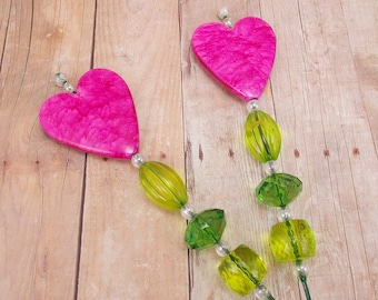 Beaded Plant Sticks - Stakes - Picks - Set of 2 - Hearts - Bright Pink and Green