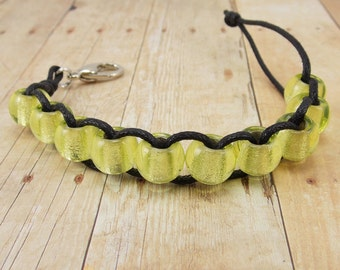 Golf Score or Knitting Row Counter - Clip - Black Cord with Light Yellow Beads - Non-Elastic - 10 Beads - Light Apple Green