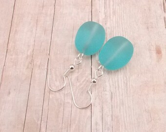 Earrings - Light Aqua Sea Glass - Turquoise - Matte Finish - Tumbled Glass