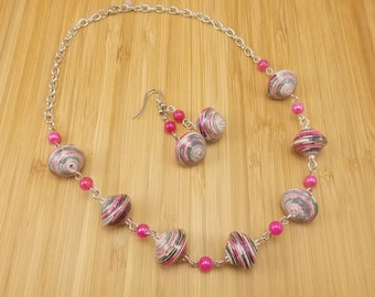 Paper Bead Necklace and Earring Set - Rwandan Paper Beads - Pink Stripes - Fuchsia and Silver