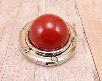 Folding Purse Hanger - Handbag Hook - Red - High Dome - Orange-Red - Tomato