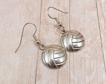 Earrings - Pewter Volleyballs - Sports Teams - Customize with Team Colors - Volleyball Mom