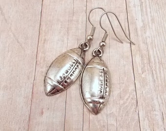 Earrings - Pewter Footballs - Sports Teams - Customize with Team Colors - Football Mom