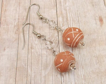 African Clay Bead Earrings - Terra Cotta Round Painted Beads with Clear and Silver