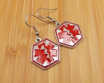 Earrings - Medical - Nurse - Staff of Asclepius or Caduceus Charms - Health Care - Red and Silver
