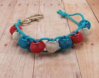 Golf Score or Stroke Counter - Clip - Blue Cord with Red, Silver and Aqua Blue Mesh Beads - Non-Elastic - 9 Beads - Knitting Row Counter