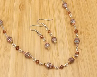 Rwanda Paper Beads - Necklace and Earring Set - Brown Stripes with Silver - Glass - Upcycled - Handmade Beads