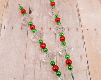 Beaded Plant Sticks - Stakes - Picks - Set of 2 - Metallic Red and Green with Clear