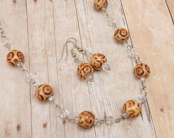 African Necklace and Earring Set - Painted Brown Wood Beads with Clear and Silver - Tribal - Flower - Geometric