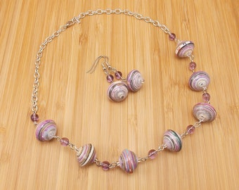 Paper Bead Necklace and Earring Set - Rwandan Paper Beads - Purple Stripes with Orchid