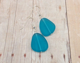 Earrings - Bright Blue Sea Glass - Aqua - Capri Blue - Matte Finish - Tumbled Glass
