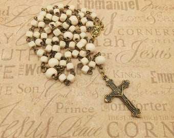 Wood Bead Rosary - Ivory with Antique Gold Accents