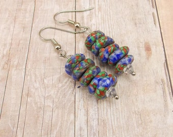 Earrings - African Powder Glass Beads - Blue, Green Red, White - Tribal - Trade - Krobo - Ethnic - Discs