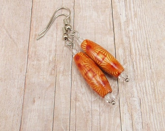 Earrings - African Wood Beads - Brown - Rust - Painted - Tribal - Trade - Ethnic - Sunburst - Flower - Orange